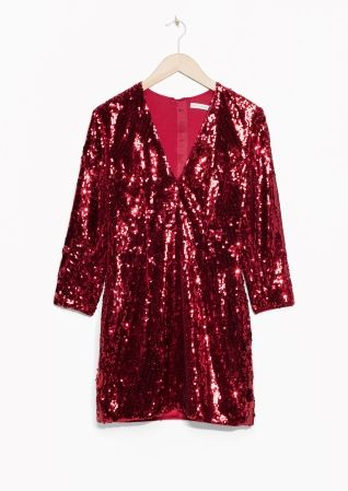 & Other Stories image 2 of Ruby Sequin Dress in Red
