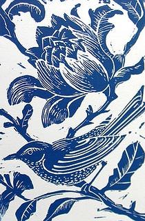 Blue Bird Linocut print by Mangle Prints, via Flickr
