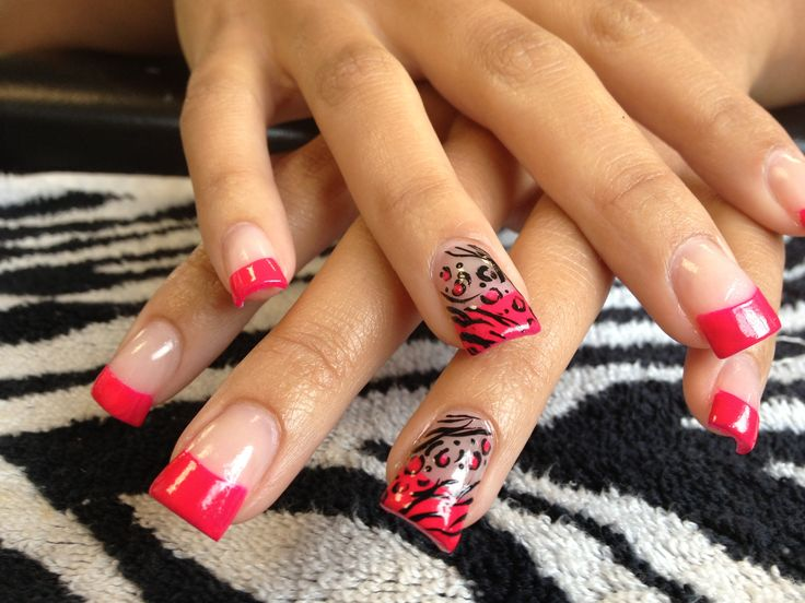 Tammy Taylor true pink refill with Venique polish French and animal print nails art