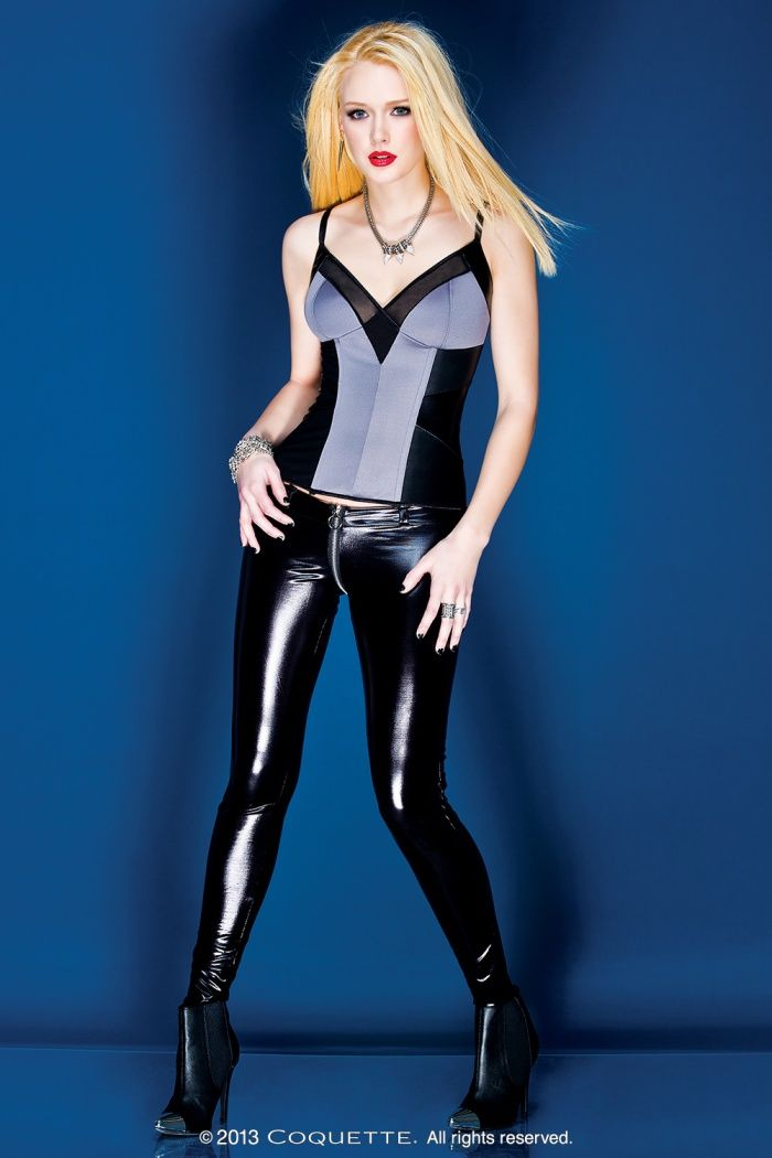 1 PC. Black wetlook pants with front to back metal zipper opening and 6 belt loops.
