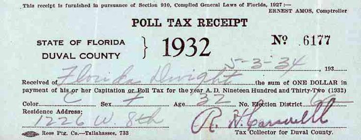 POLL TAX  | Many Southern States adopted a Poll Tax, in the late, 1800'S.  Even though the 15th Amendment gave former slaves the right to vote, many poor people, both Black and White, did not have enough money to vote.