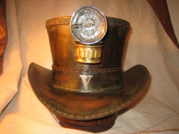 Custom Steampunk Leather Top Hat by ramonpiper on Etsy,