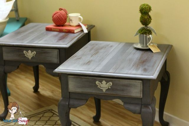 handpainted gray french grain sack end tables, chalk paint, painted furniture, Queen Anne style end tables painted to look like French Grain Sacks