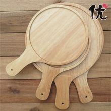 6 inch round shaped wooden  wood pizza plate pan mould pan tools dish stones tray wooden pizza board paddle(China (Mainland))