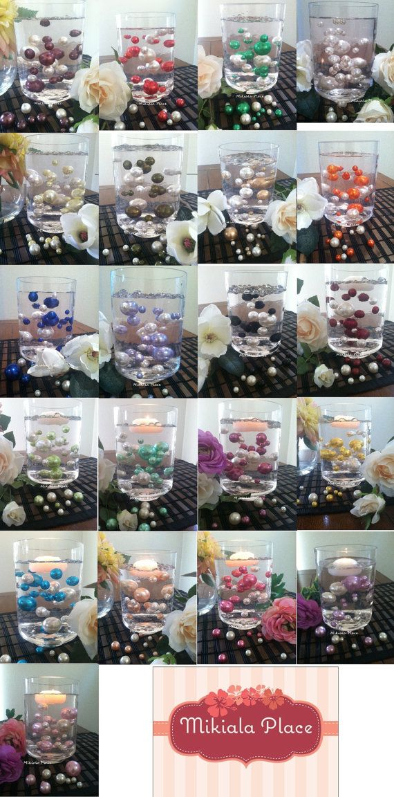 30pc Vase Filler Floating Pearls Pick from 28 pearl color chart For Wedding Centerpiece, Candleplate decor, Home Accents