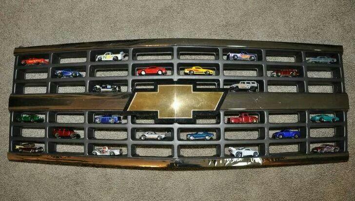 Cute match box car display for a boys room