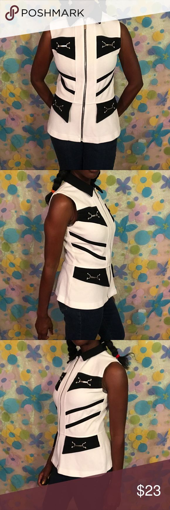 PG collections zip up to 8 stretchy I love this black and white zip up top. Size 8. Fits small and a bit stretchy. No pockets. 🤷🏿♀️ DM TO PURCHASE!! #pgcollection #gingerbort #top #blouse #sleeveless #zipup #halloween #vintage #retro #fun #party #stretchy #8 #womensfashion #womenswear #womensclothing #forsale #depop #posh #ebay #vinted #thrift #smallbusiness #blackowned #luxury #expensive #blackgirlmagic Tops Blouses