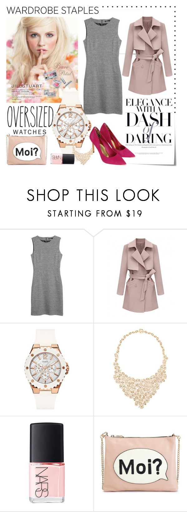 """""""Wardrobe Staple: Oversized Watch"""" by lushxoxo ❤ liked on Polyvore featuring Post-It, MANGO, Jill Stuart, GUESS, Octium, NARS Cosmetics, M&S and Ted Baker"""