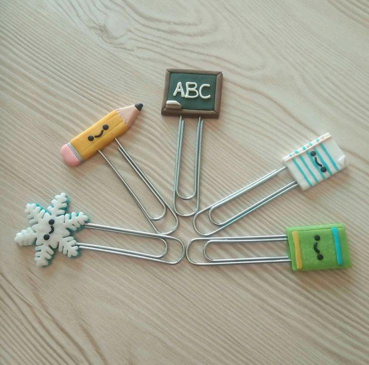Back to School - Themed Polymer Clay Paper Clips / Bookmarks