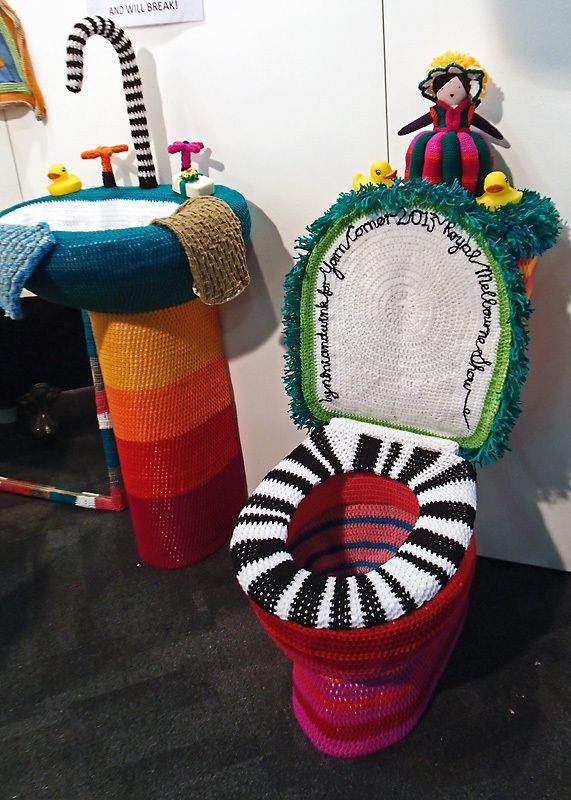 Yarn Corner's yarn bombing Melbourne.    I'm going to be remodeling my bathroom.  What do yall think?