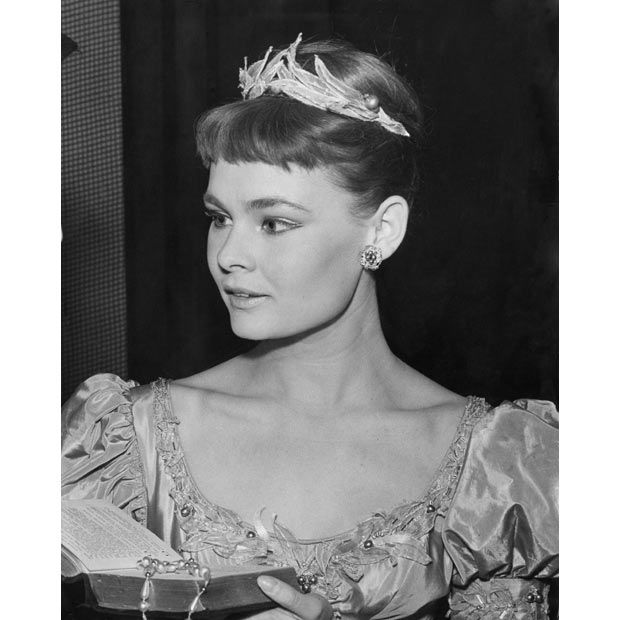 15 September 1957: Judi Dench as Ophelia at a dress rehearsal of Michael Benthall's production of Shakespeare's 'Hamlet' at the Old Vic, London