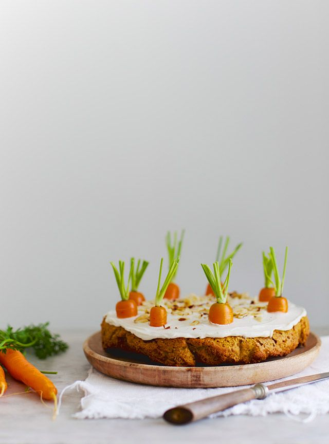 Check out this crafty and creative carrot cake. A delicious treat adds a fun and unique spin on an Easter time favorite. Cream cheese frosting and healthy vegetables sit atop a dirt like, cinnamon and walnut cake. Yum! The BEST!