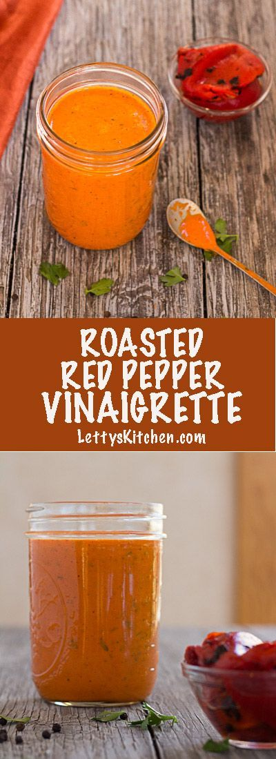Roasted Red Pepper vinaigrette salad dressing is smoky and slightly sweet from honey. Copycat version of a favorite bottled salad dressing. Easy to make with purchased roasted red peppers.