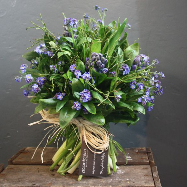 Blue Hyacinth and Forget Me Not Bouquet