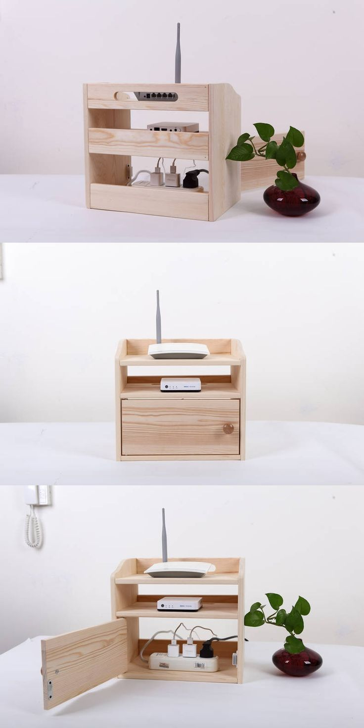 Wooden Desk Organizer Wifi Router Storage Box Shelf Cable ...