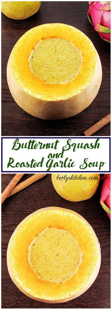 A rich and creamy blend of butternut squash and roasted garlic. The soup will fill your belly and warm your soul on frigid winter days.  via @berlyskitchen