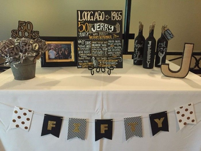 Simple Birthday Decor Table With A Festive Poster Three Hand Painte 50th Birthday Party Decorations 50th Birthday Party Ideas For Men Birthday Surprise Party