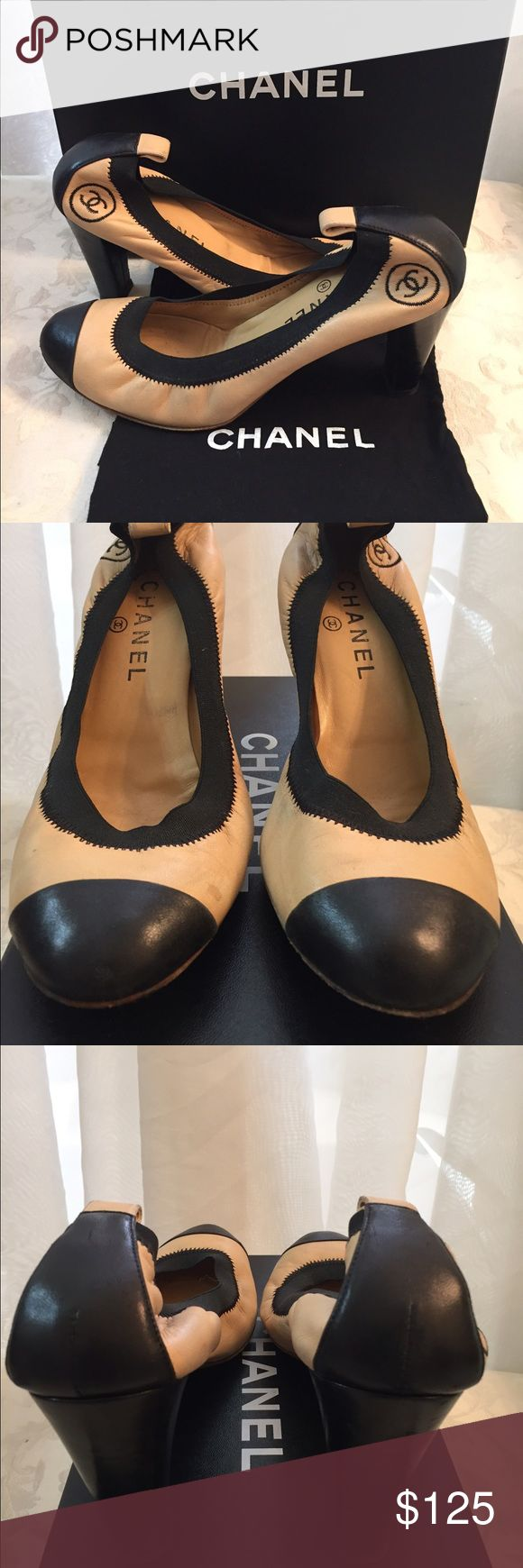 Chanel CC Two Tones Pumps Chanel CC Pumps, two Tones, Black and Camel, CC Details, regular sign of wear, comes with dust bag only. CHANEL Shoes Heels