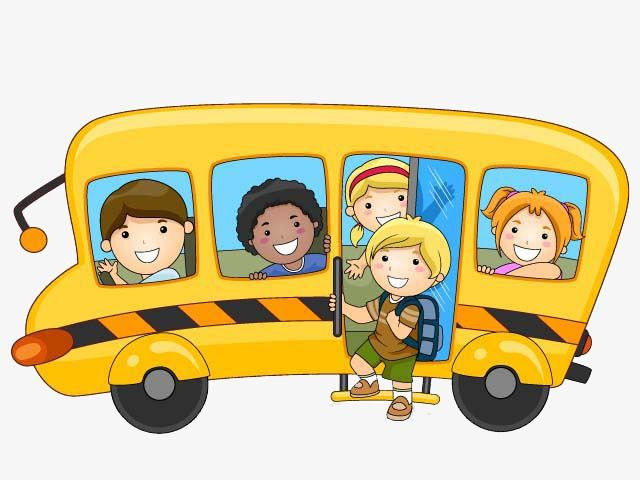 كرتون باص المدرسة Cartoon School Bus School Illustration