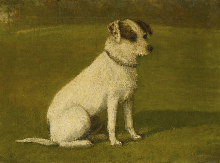 """""""Terrier"""" by William Albert Clark, British artist who came from a large family of animal painters, 1918"""