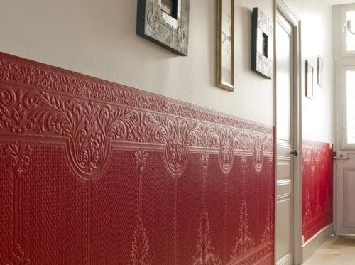 cherry red embossed wallpaper. use on furniture. lining for open shelves. boxes. cases.