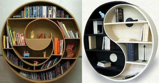 Bookshelves made from cardboard.