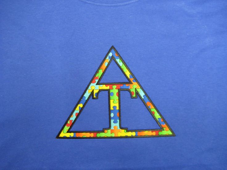 #Triangle #Fraternity #Satin #Puzzle #Piece #Cause Fabric #Royal #Hanes #Shirt