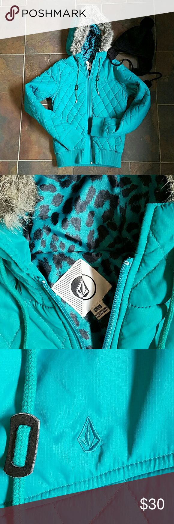 Volcom Girls snow jacket Volcom snow jacket.  Really great teal color. Fur lining on the hood can be taken off, but its still on great shape.  Worn a few times, washed, and air dried! Volcom Jackets & Coats Puffers