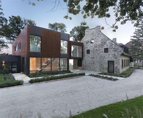 Modern Steel Addition House- Modern Steel Cubes Complement 200-Year-Old Stone House Posted: 12 Oct 2013 10:00 AM PDT   The challenge of housing four generations, from a great-grandfather to young children, while also preserving the historical integrity of a 200-year-old stone house in Quebec, led to a harmonious collaboration between the old and new. Architect Henri Cleinge took a multi-generational approach that embraces the transitions, providing new accommodations for a pair of young…