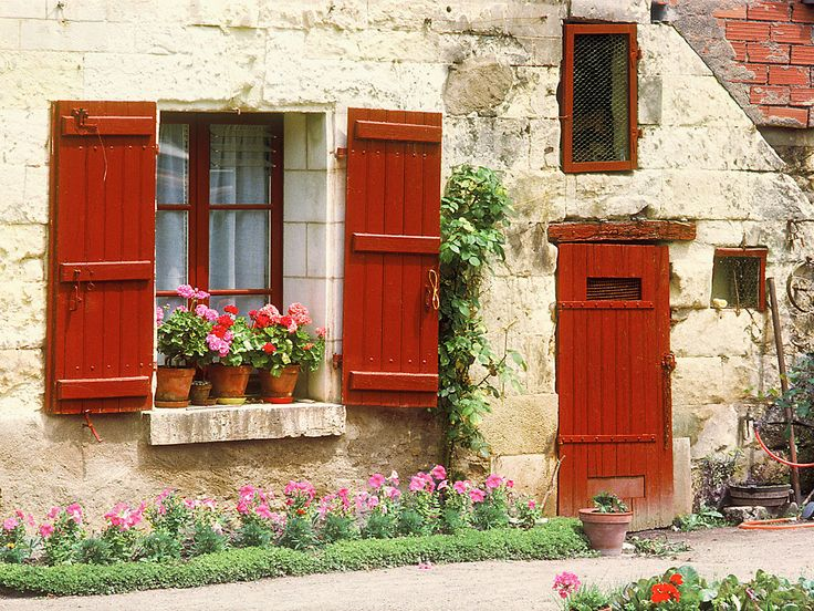 European photo of white stone cottage with red door and shutters in Cheonceau(Loire Valley), France by Dennis Barloga   Photos of Europe: Fine Art Photographs by Dennis Barloga