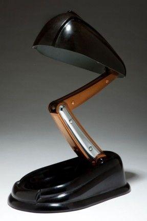 "French Art Deco JUMO ""Bolide"" Black Bakelite Table Lamp | Lighting | Decophobia | 20th Century Design LOVE VINTAGE? visit"