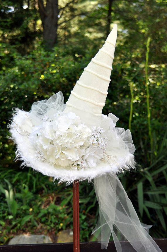 Perfect for the Halloween Bride, White Velvet Witch Hat, trimmed in fur,  enhanced with silk flowers, tulle netting and pearl accents. on Etsy, $85.00
