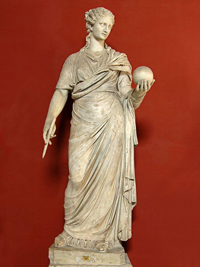 Female figure restored as the Muse Urania, Roman statue (marble), copy after Greek originals, head and body do not belong, ? (originals 4th c. BC), (Musei Vaticani, Vatican City).