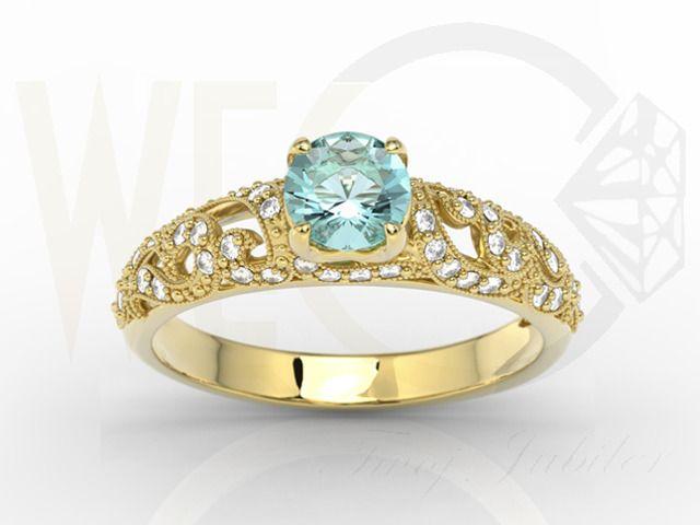 Złoty pierścionek z z topazem i diamentami / Yellow gold engagement ring with diamonds /2527 PLN #engagement #ring #topaz #diamonds #beautiful