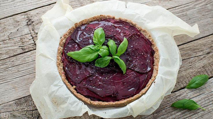 Vegan beetroot tart. Extremely brittle.