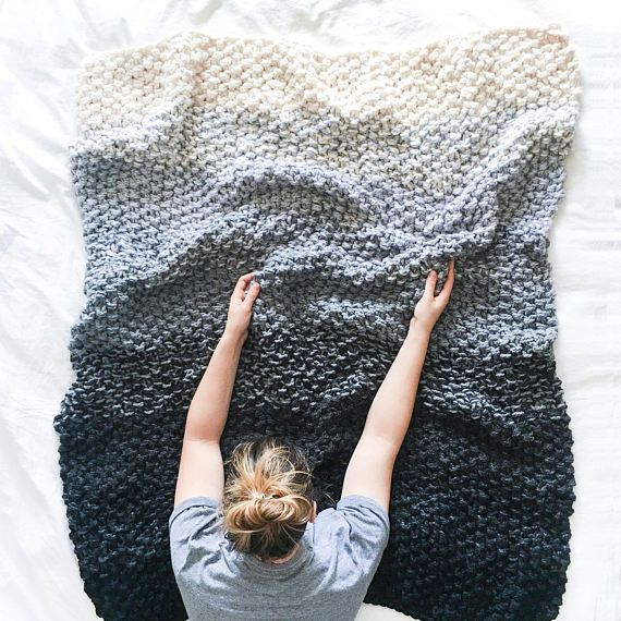 Chunky Knit Blanket Pattern Gradient Ombre Color Etsy Blanket