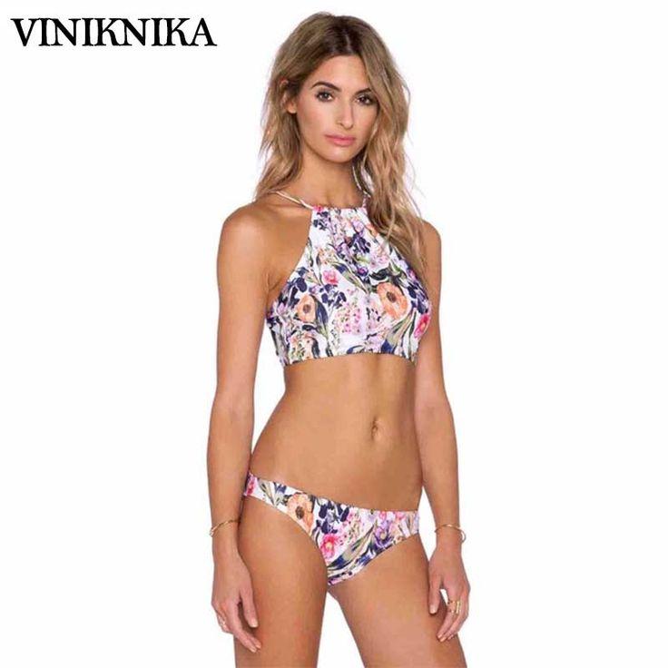 Femmes Maillots De Bain Mode Imprimer Bikini Sexy V-Neck sans Manches Taille Haute Jupe Split Maillots De Bain pour Vacances Plage,Green-XL