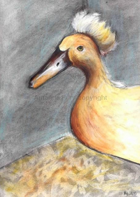 Fluffy. Charcoal and watercolour pencils on watercolour paper. A4 size
