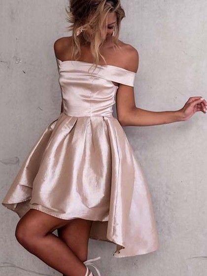 1a72f905b72 A-line Off-the-shoulder Satin Asymmetrical Ruffles Prom Dresses  99.99