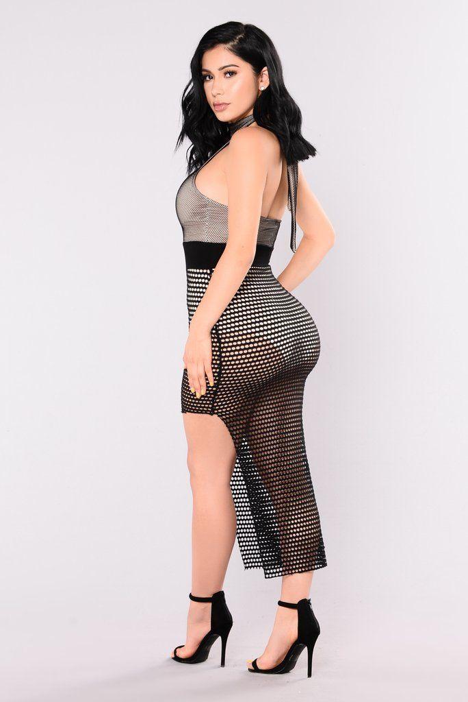 Surrender Fishnet Dress - Black