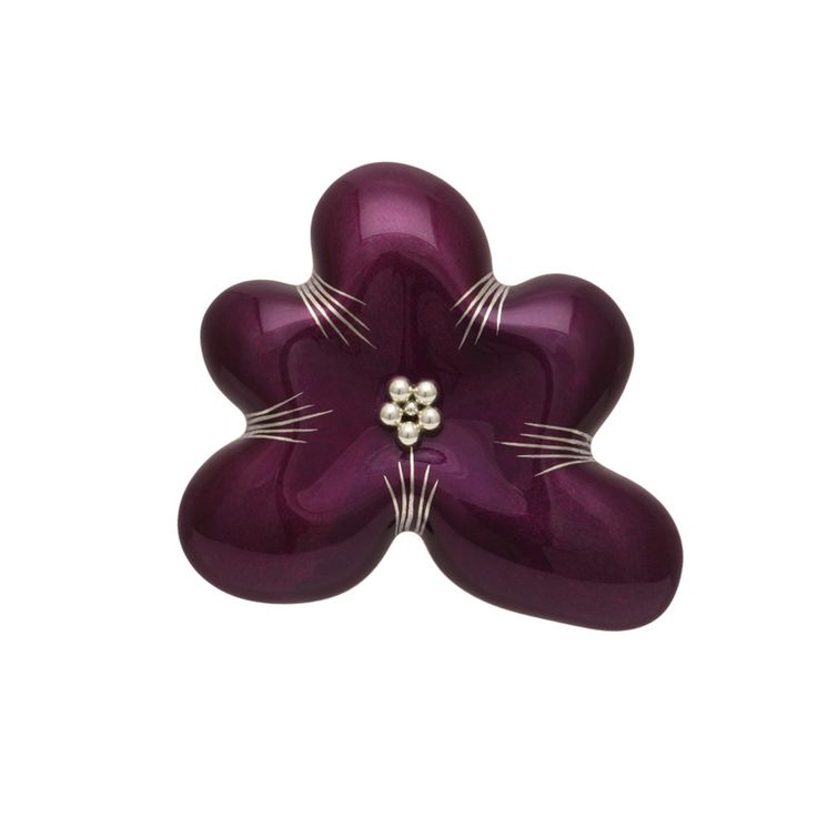 身につける漆 蒔絵のアクセサリー ブローチ 花 中 箔紫色 坂本これくしょんの艶やかで美しくとても軽い「和木に漆塗りのアクセサリー」より、大人の女性にお使いいただきたい存在感ある ウェアラブル 漆 アクセサリー wearable URUSHI accessories Brooch  Hana middle foil purple color ふっくらと満ち足りた量感を持ったような雰囲気を醸し出しているフォルムに艶やかでありながら透明感のある香り立つような箔紫色が美しい上品で華麗なペンダントブローチ。プラチナ箔で花びらの線を花芯は銀の粒で立体感を出しました。  #漆アクセサリー #漆のアクセサリー #漆ジュエリー #軽いアクセサリー #漆のブローチ #Brooch #BroochHana #お花のブローチ #花ブローチ #紫ブローチ #古希プレゼント #wearable #ウェアラブル漆 #漆塗り #軽さを実感 #坂本これくしょん
