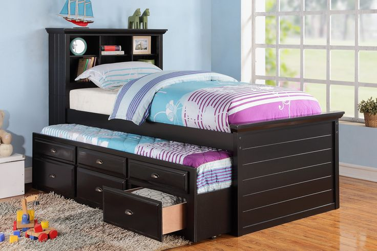"""Poundex Twin Bed With Trundle F9219 $370  This ultimate twin bed features an additional trundle bed and a multi-storage unit in wood black finish. Its practical design is the essential piece for any tween who needs space and likes to entertain friends.   Material : Pine Wood MDF Plywood Particle Board Birch Veneer  Color : Black,Brown     Dimensions :89"""" x 44"""" x 50""""H"""