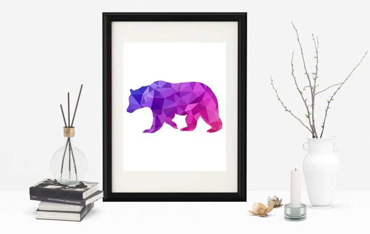 Geometric Bear Wall Art, Geometric Animal Poster, Geometric Bear Print, Bear Printable Poster,Printable Poster, Nursery WallArt, Bear Poster by SeptemberCreationsAE on Etsy