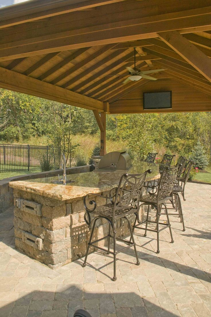 Built In Grill: Covered Outdoor Bar With Built In Grill