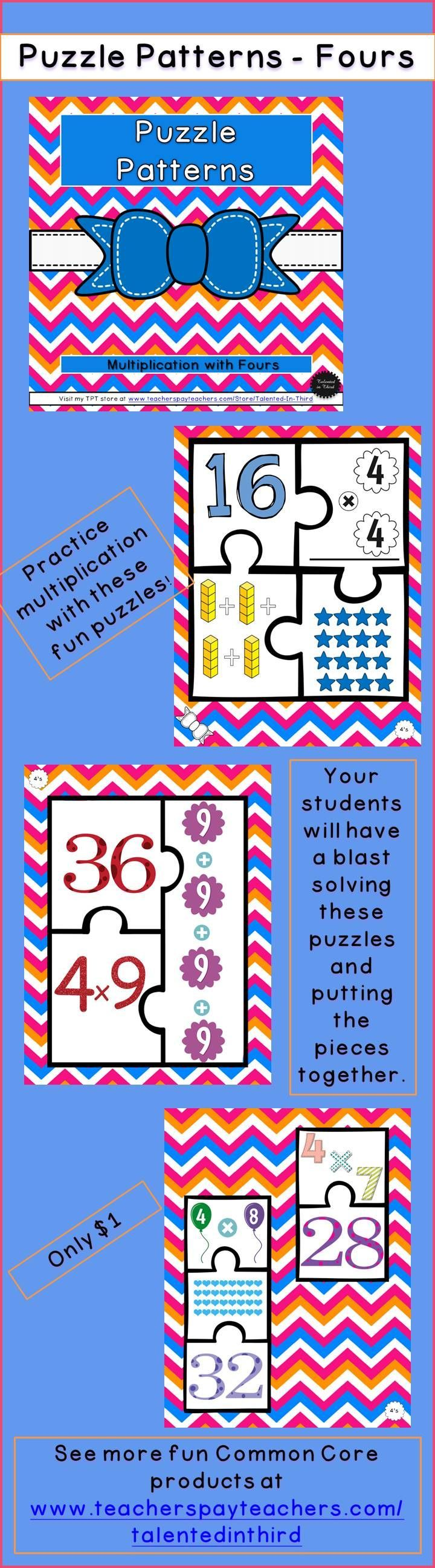 Enjoy this fun way to practice multiplication, with fun interactive puzzles that can be used as a whole class, small group, or enrichment activity.   Practice Common Core Math Skills with these printable puzzles. Great for fourth or fifth grade students who are reviewing multiplication or third grade students who need more practice in understanding different ways to represent a multiplication fact (arrays, equation, total).