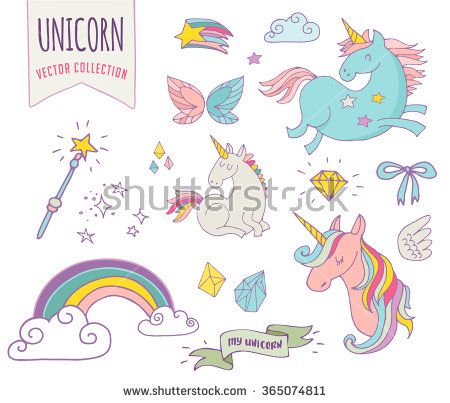 cute magic collection with unicorn, rainbow, fairy wings - stock vector