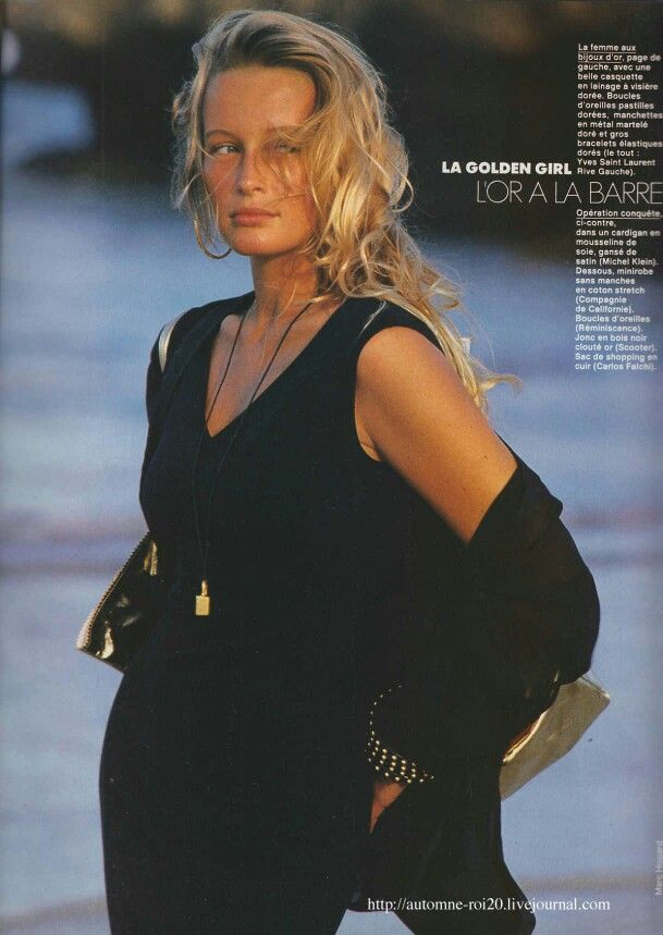 "Elle France 1989  ""La Golden Girl Hypersexy"" Model: Estelle Lefebure Photographer: Marc Hispard:"