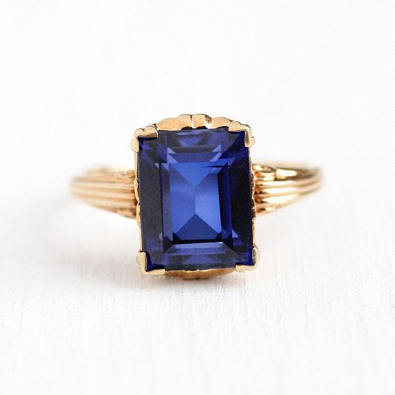 Created Sapphire Ring Vintage 10k Rosy Yellow Gold Created Blue Sapphire Statement 1940s Si Blue Stones Jewelry Blue Sapphire Jewelry Vintage Sapphire Ring
