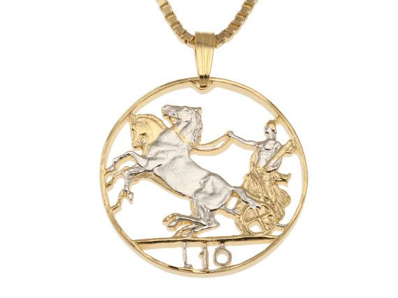 """Italienische Anhänger und Halskette Schmuck, Italien 10 Lira Gladiator Münze in die Hand geschnitten, 14 Karat Gold und Rhodium plattiert, 1"""" Durchmesser (# 204)"""