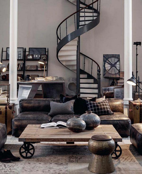 деревянный журнальный столик, промышленные лестницы, темно-коричневый кожаный диван